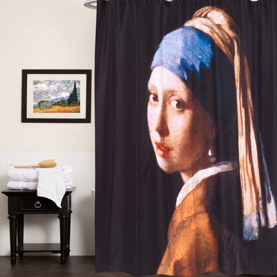 Fabric Shower Curtain with Van Gogh Series Girl with Pearl Earring Print (70x72)
