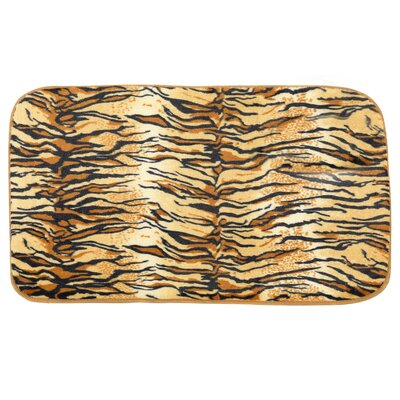 Faux Fur Tiger Print Cushioned Bath Rug (20x31.5)