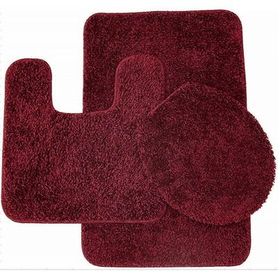 3 Piece Shag Bathroom Rug Set Color: Burgundy