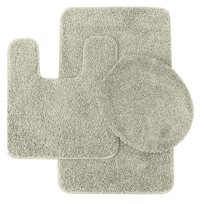 3 Piece Shag Bathroom Rug Set Color: Ivory