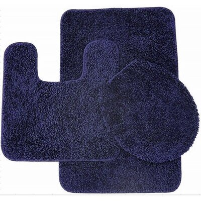 Calandre 3 Piece Shag Bathroom Rug Set Color: Navy