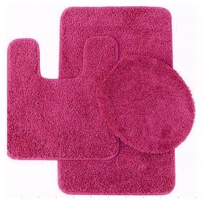 Calandre 3 Piece Shag Bathroom Rug Set Color: Fuschia