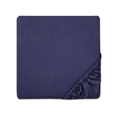 Fitted Sheet Color: Navy, Size: Queen