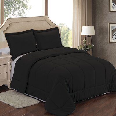 Comforter Set Color: Black, Size: Full/Queen