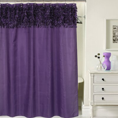 Beautiful Leaf Banded Fabric Shower Curtain Color: Purple