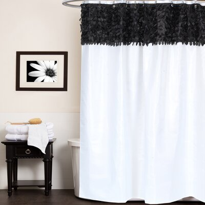 Beautiful Leaf Banded Fabric Shower Curtain Color: Black/White