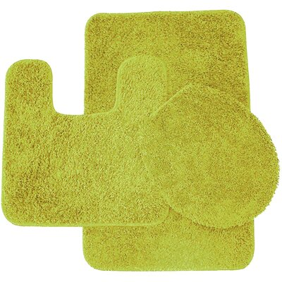 Calandre 3 Piece Shag Bathroom Rug Set Color: Lime