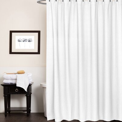 Waffle Weave Cotton Shower Curtain Color: White