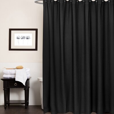 Waffle Weave Cotton Shower Curtain Color: Black