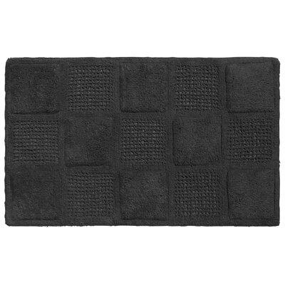 Waffle Weave Cotton Bath Rug Color: Black