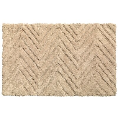 Chevron Cotton Bath Rug Color: Dark Linen