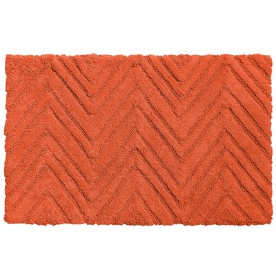 Chevron Cotton Bath Rug Color: Burnt Coral