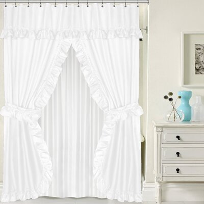 Double Swag Shower Curtain Set Color: White