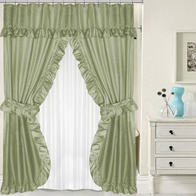 Double Swag Shower Curtain Set Color: Sage