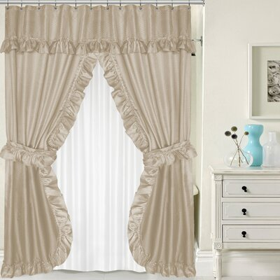 Double Swag Shower Curtain Set Color: Linen