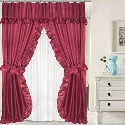 Double Swag Shower Curtain Set Color: Burgundy