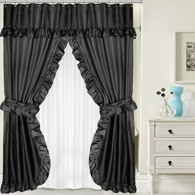 Double Swag Shower Curtain Set Color: Black