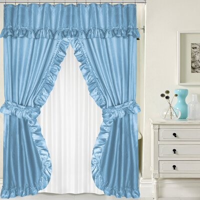 Double Swag Shower Curtain Set Color: Light Blue