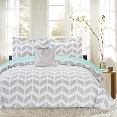 Herringbone Print 4 Piece Reversible Comforter Set Size: King