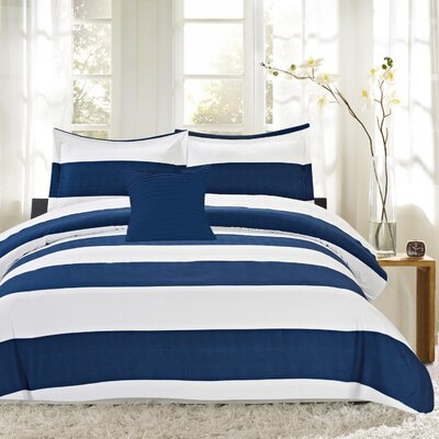 Nautical Stripe 4 Piece Reversible Comforter Set Size: King