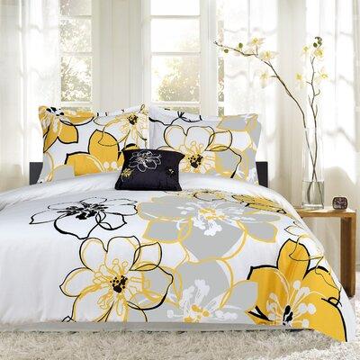 Floral Print 4 Piece Reversible Comforter Set Size: Full/Queen