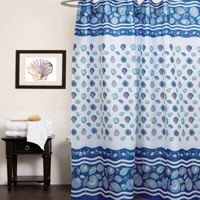Sea Shell Fabric Shower Curtain Color: Blue
