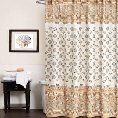 Sea Shell Fabric Shower Curtain Color: Ivory