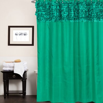 Beautiful Leaf Banded Fabric Shower Curtain Color: Emerald