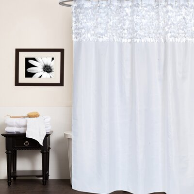 Beautiful Leaf Banded Fabric Shower Curtain Color: White