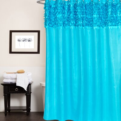Beautiful Leaf Banded Fabric Shower Curtain Color: Cyan