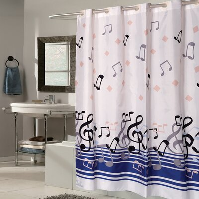 Music Note Fabric Shower Curtain