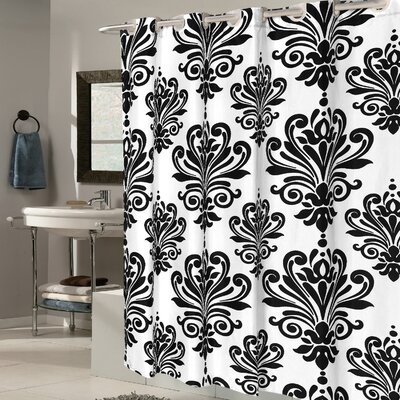 Fleur De Lis EVA Shower Curtain Color: Black/White