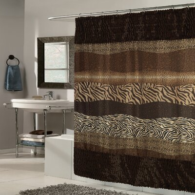 Exotic Mix Animal Fabric Shower Curtain FFSC-FEL-695-BRN