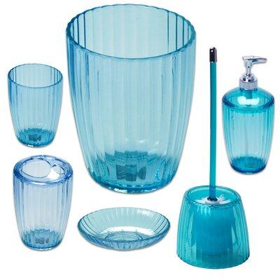 6 Piece Ribbed Acrylic Bath Accessory Set Color: Cerulean Blue BAARC-SET-80-CER