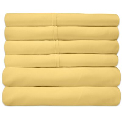 1800 Thread Count 6 Piece Sheet Set Size: King, Color: Yellow