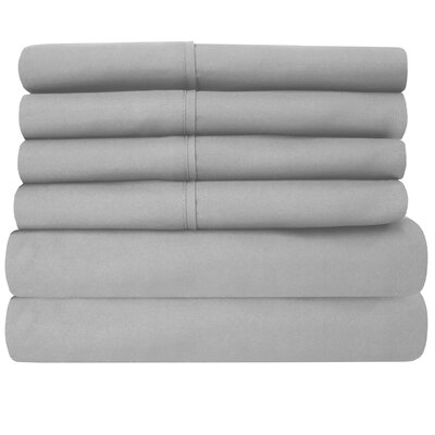 1800 Thread Count 6 Piece Sheet Set Size: King, Color: Silver
