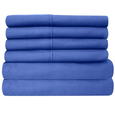 1800 Thread Count 6 Piece Sheet Set Size: King, Color: Royal Blue