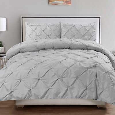 3 Piece Comforter Set Size: King, Color: Silver