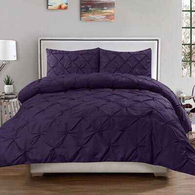 Luxury 3 Piece Duvet Cover Set Size: Queen, Color: Eggplant