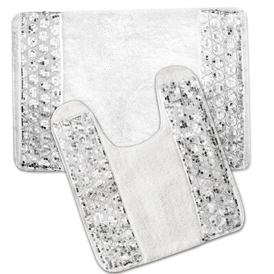 Sinatra Luxury 2 Piece Bathroom Rug Set Color: White