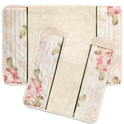 2 Piece Rose Print Bath Rug Set