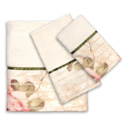 3 Piece Rose Print Bath Towel Set