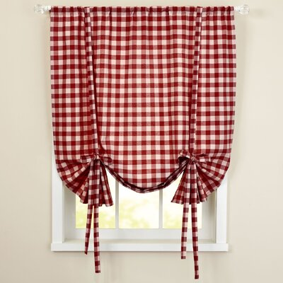 Buffalo Check Decorative Tie-Up Shade (Set of 6) Color: Burgundy