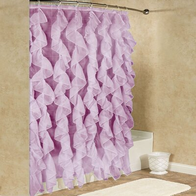 Chic Sheer Voile Vertical Waterfall Ruffled Shower Curtain Color: Dusty Lavender