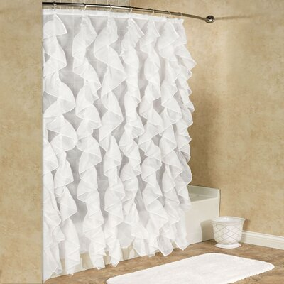 Chic Sheer Voile Vertical Waterfall Ruffled Shower Curtain Color: White
