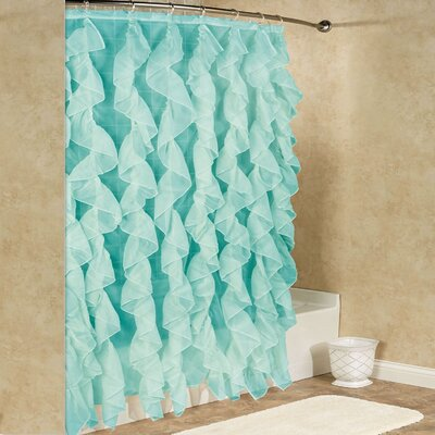 Chic Sheer Voile Vertical Waterfall Ruffled Shower Curtain Color: Sea