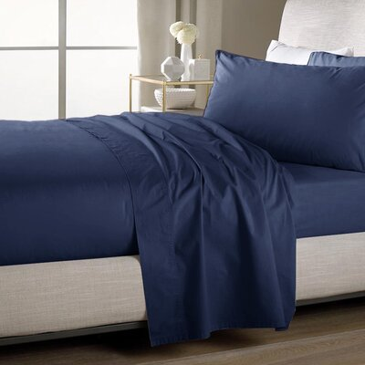 Ultra Soft Flat Sheet Color: Navy, Size: Full