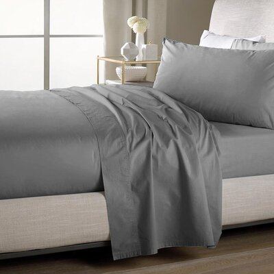 Ultra Soft Flat Sheet Color: Gray, Size: Queen