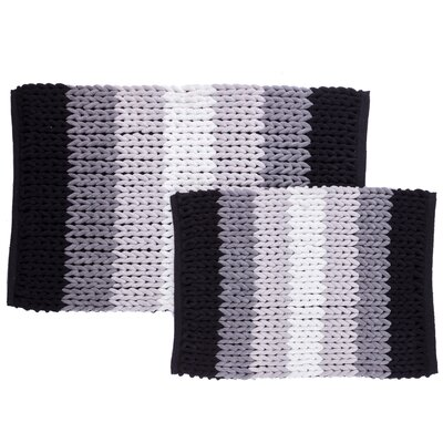 Luxury Ultra Plush Ombre-Stripe 2-Piece Bath Rug Set Color: Black