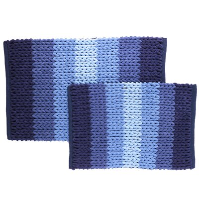 Luxury Ultra Plush Ombre-Stripe 2-Piece Bath Rug Set Color: Blue